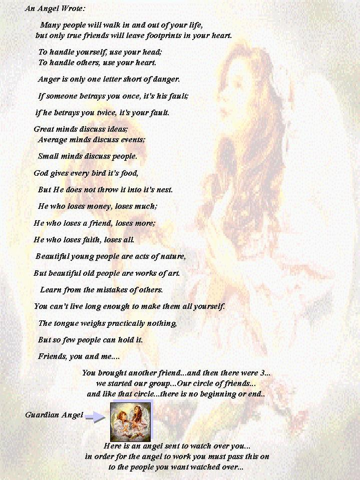 Guardian Angels Poems Guardian Angel Can Fly