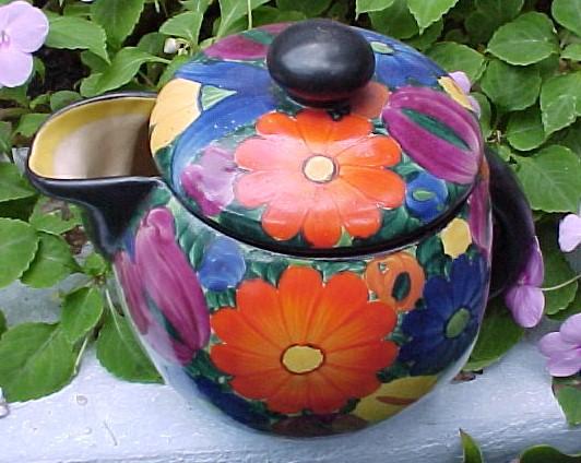 Czech J Mrazek Peasant Art Industry Handpainted Pottery 4.5 Pitcher