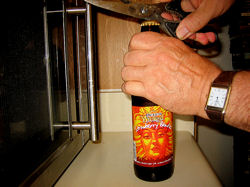 opening Strawberry Blonde beer with a pair of scissors DO NOT try this at home or after consuming two or more six-packs