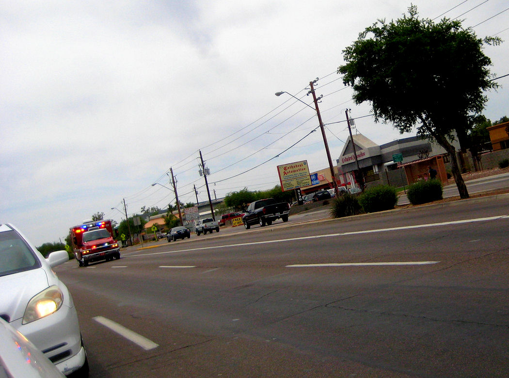 Here comes the Phoenix Fire Department ambulance