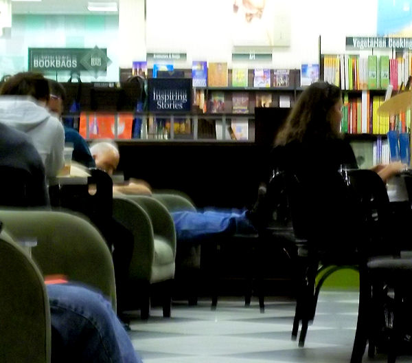 Sleeping man at B&N Cafe