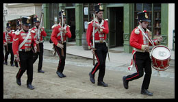 Re-enactment of Redcoats Marching