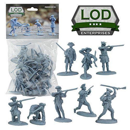 16 Blue Soldier Figures 1:32 Scale LOD Revolutionary War Colonial Regular Army
