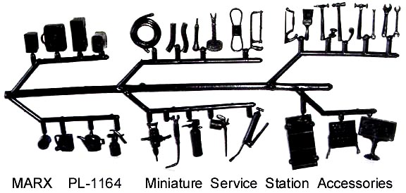 Marx reissue gas service station small sprue tools accessories x 60