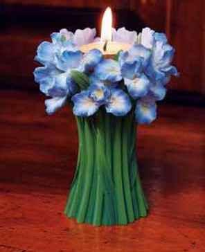 Bearded Iris Bouquet Tea Lite Candle