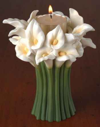 Calla Lily Bouquet Tea Lite Candle Holder
