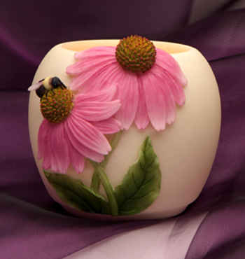 Coneflower with Bee Votive Candle Holder