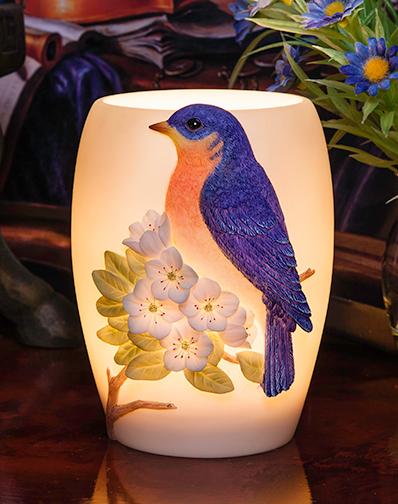 Bluebird with Cherry Blossoms Night Lamp