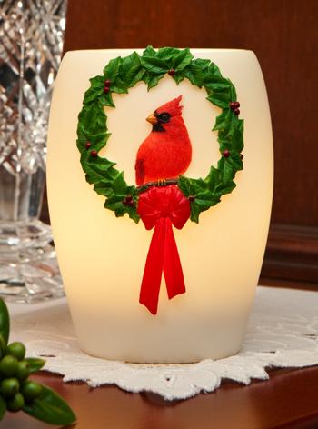 Cardinal Wreath Night Lamp