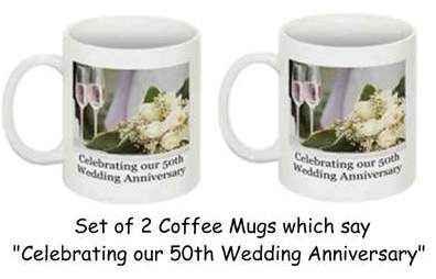 50th Anniversary Mugs Champagne Flutes