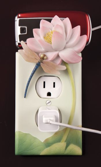 Dragonfly and Waterlily Outlet Cover