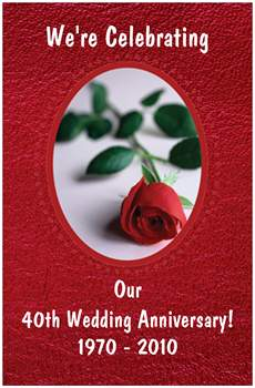 Personalised 40th Wedding Anniversary Gift : 40th Anniversary Poster