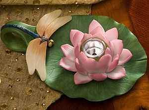 Dragonfly and Water Lily Chamberstick