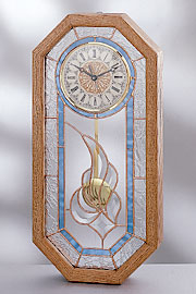Stylized Bevel Cluster Stained Glass Clock