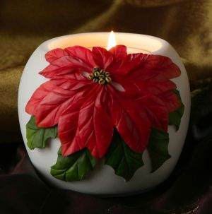 Red Poinsettia Votive Candle Holder
