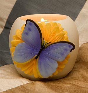Blue Butterfly on Daisy Votive