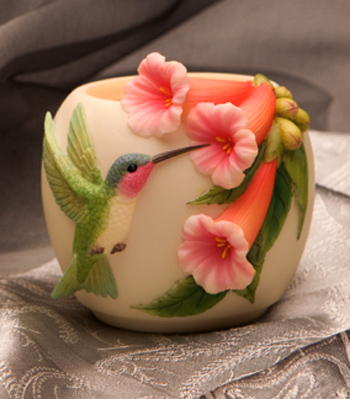 Hummingbird with Trumpet Flowers Votive Candle
