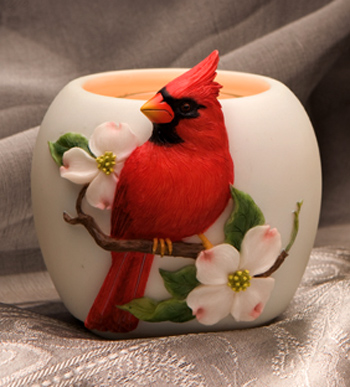 Red Cardinal with Dogwood Votive Candle
