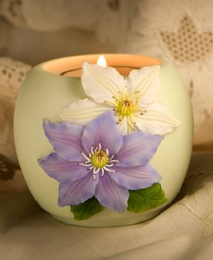 Lavender and White Clematis Votive Candle Holder