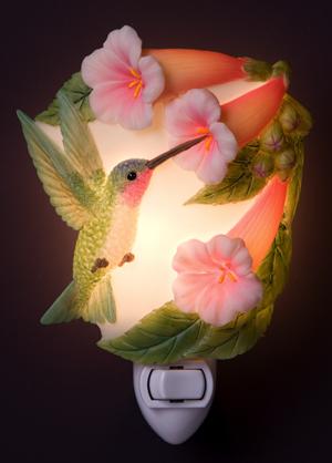 Hummingbird with Trumpet Flowers Night Light