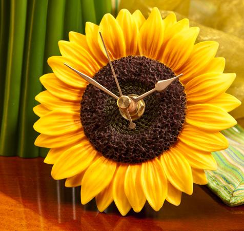 Sunflower Flower Time Clock