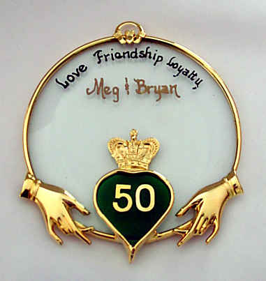 Claddagh Ancient Irish Symbol for  Love  Friendship   Loyalty Approx Size    4  diameter   50th Anniversary  50th Wedding Anniversary Gifts by Juhlin Glass Studio. Gift Ideas For 50th Wedding Anniversary. Home Design Ideas