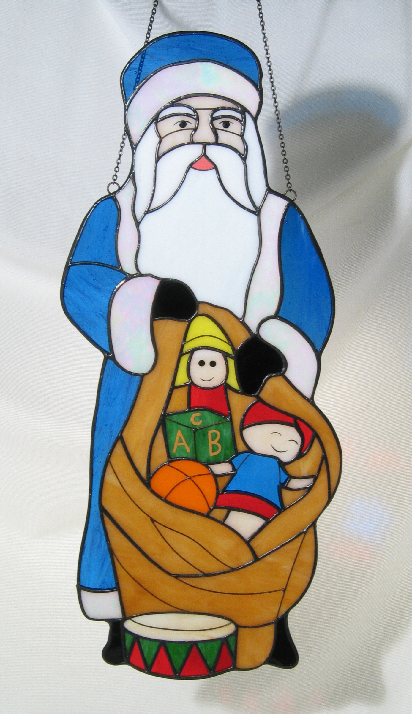 Large Czech Santa in Stained Glass