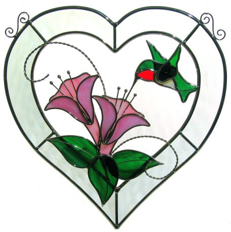 Hummingbird Bevel Heart
