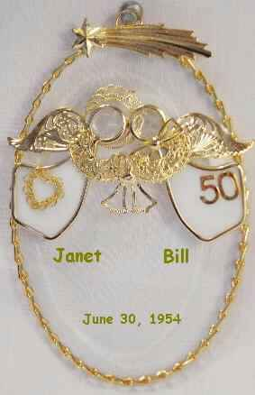 A Match Made in Heaven (R) Personalized 50th Wedding Anniversary Edition.  Available with White Angels/24K Gold Plated; White Angels/Imitation Silver Plated and Ruby Angels/24K Gold Plated.  Can be personalized with Names and Date or Short Verse.  All Anniversary Numbers are available.