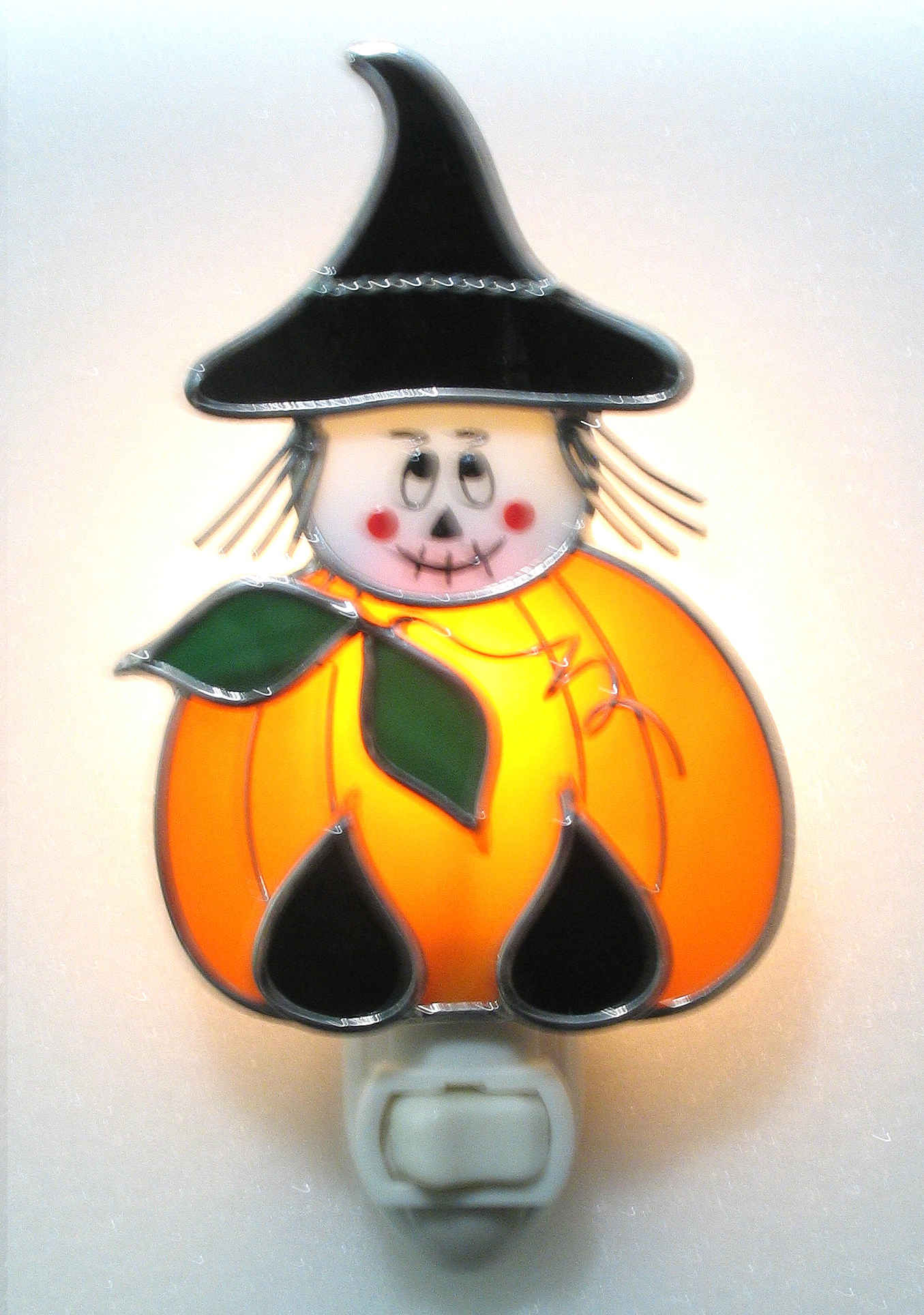 Stained Glass Pumpkin Witch Nightlight