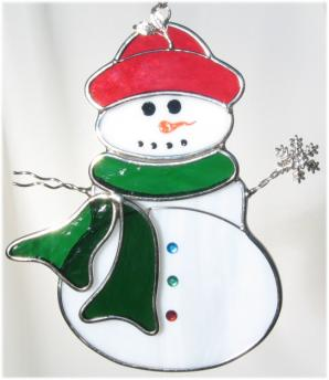 Snowman with Scarf Suncatcher or Tree Ornament