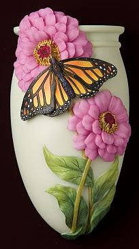 Zinnia with Monarch Butterfly Wall Decor/ Wall Vase