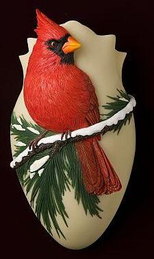 Winter Red Cardinal Wall Vase/Wall Pocket