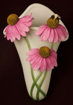 Coneflower and Bee Wall Decor/Wall Vase