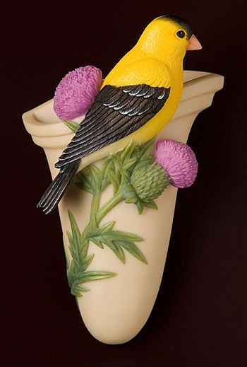 Goldfinch with Thistle Wall Decor/ Wall Vase