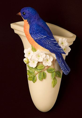 Bluebird on Cherry Blossoms Wall Vase