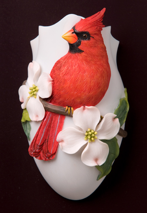 Cardinal and Dogwood Wall Vase/Wall Pocket