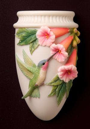 Hummingbird with Trumpet Flower Wall Decor/Wall Vase