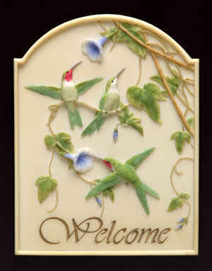 Hummingbirds and Morning Glories Welcome Plaque