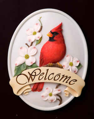 Red Cardinal with Dogwood Welcome Plaque