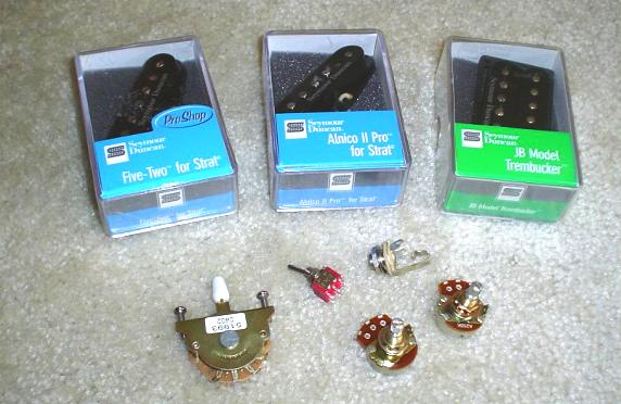 Seymour Duncan pickups, 5-way switch, coil-split switch, 250K pots, output jack