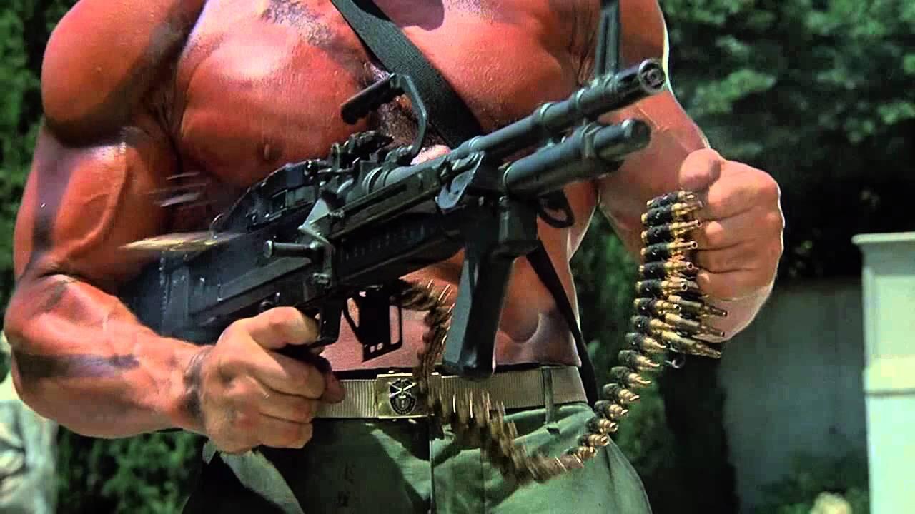 rambo shooting machine gun