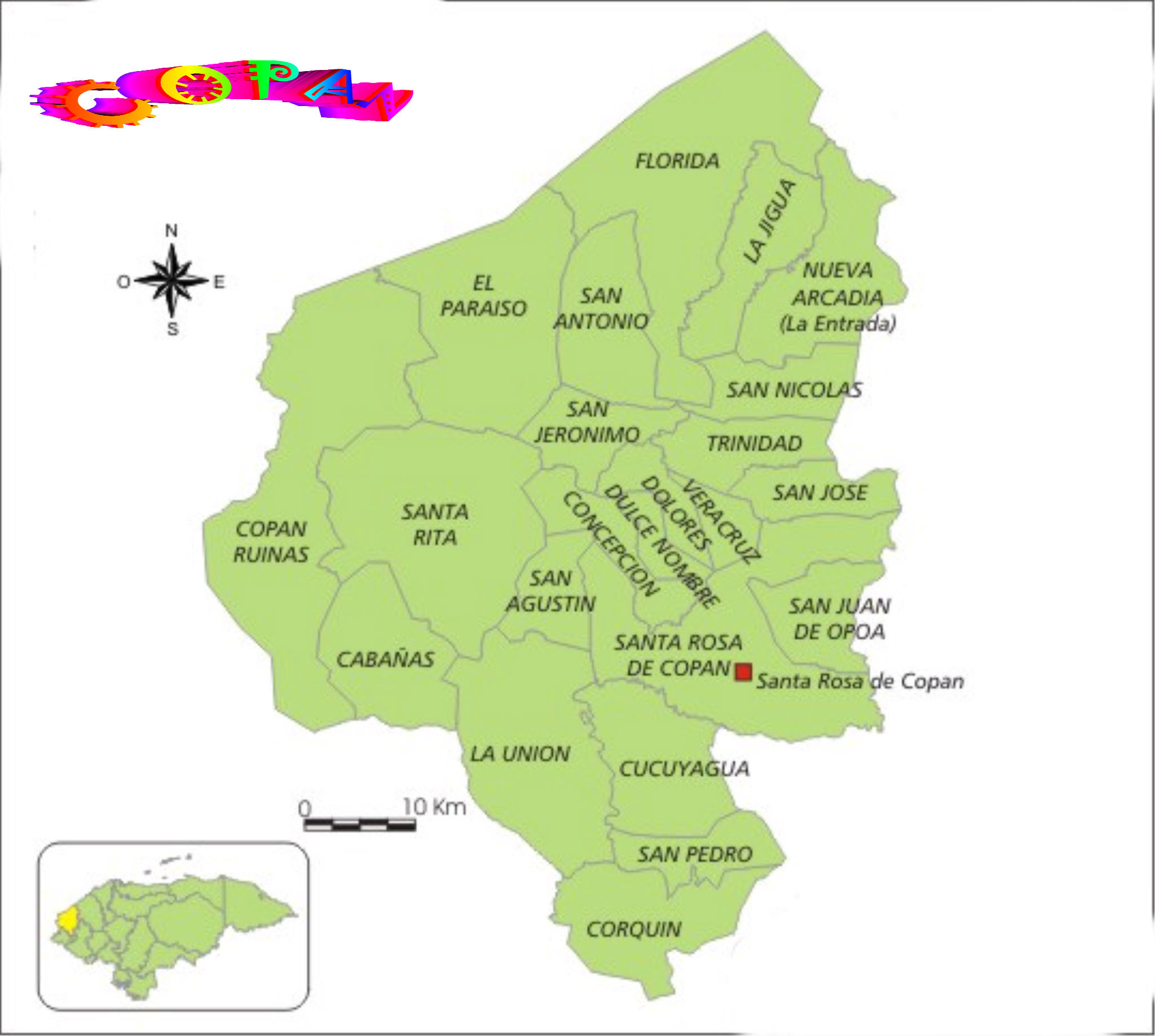 Mapa De Los Municipios De Copan Honduras