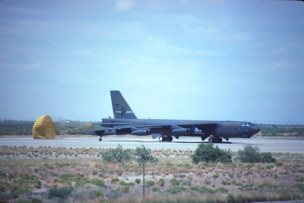 B-52G after landing at Biggs AAF in 1989.