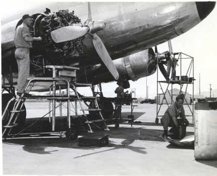 C-47 undergoing Maintenance at Biggs Army