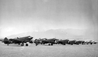 P-40s at Biggs during a dust storm