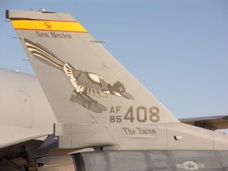 Tail markings for the New Mexico Air National                       Guard F-16C