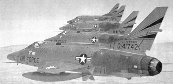 A flight of 188th TFS New Mexico Air National                     Guard F-100Cs