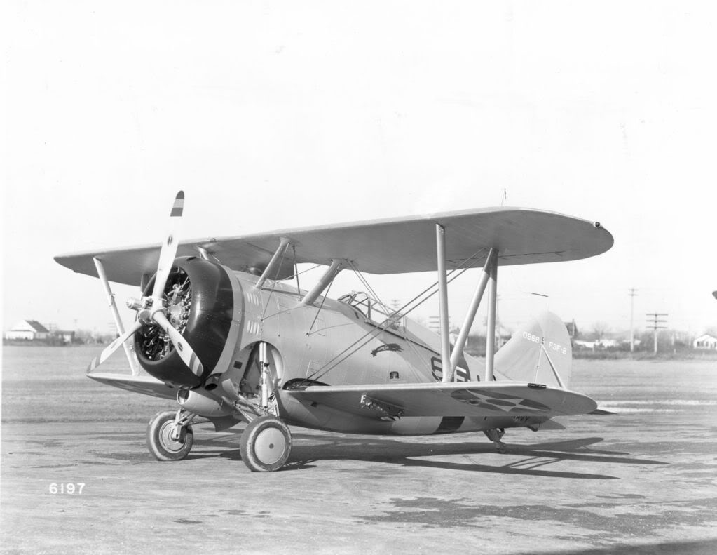 Grumman F3F-2 of VF-6 off of the USS Enterprise in