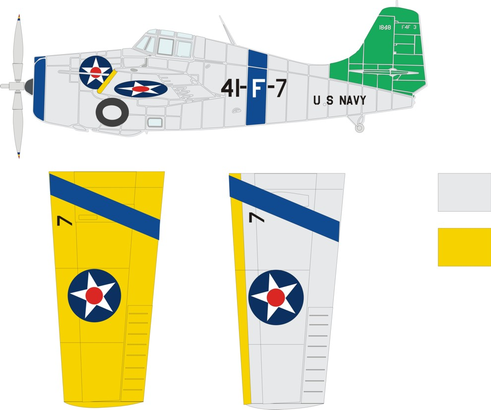 Grumman F4F-3 Wildcat color scheme and markings for